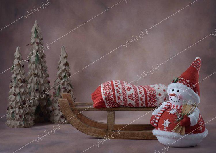 بک دراپ کریسمس و آدم برفی