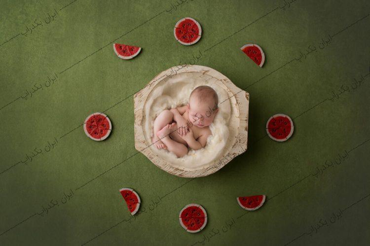 بک دراپ نوزاد عکاسی جشن یلدا طرح هندوانه