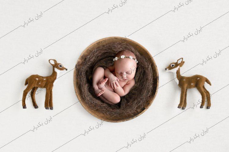 بک دراپ نوزاد گوزن های کوچک کریسمس