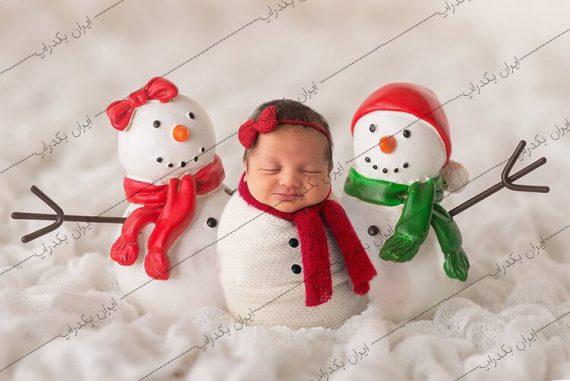 بک دراپ نوزاد آدم برفی دوتایی