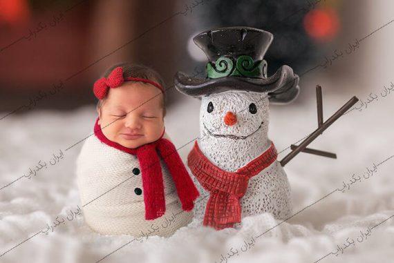 بک دراپ نوزاد آدم برفی و زمستانی