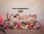 بک دراپ عکاسی تخت نوزاد با دکور گل های بهاری