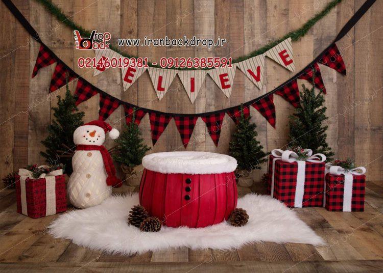 بک دراپ عکاسی نوزادی کریسمس