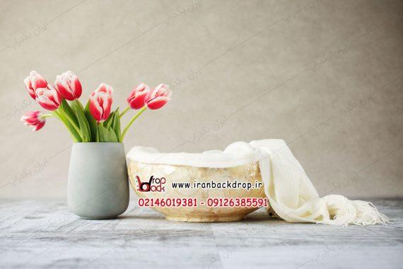 بک دراپ نوزاد سبد و گل