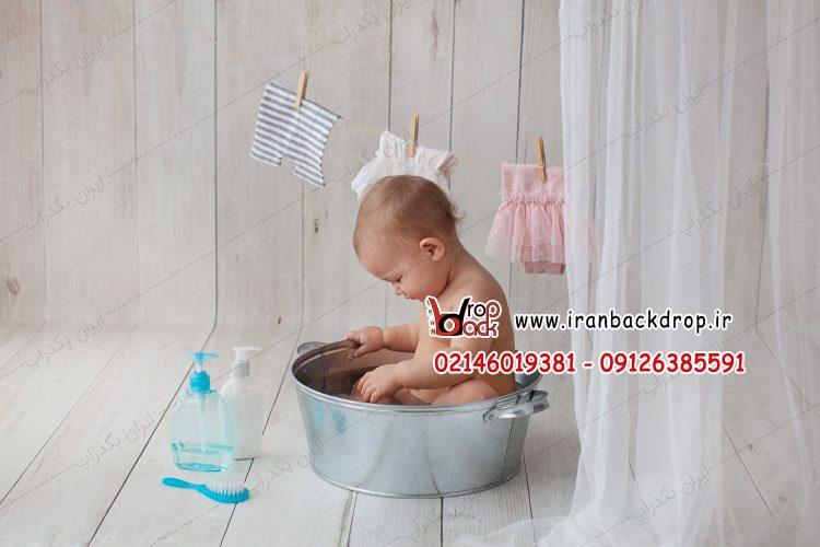 بک دراپ کودک حمام
