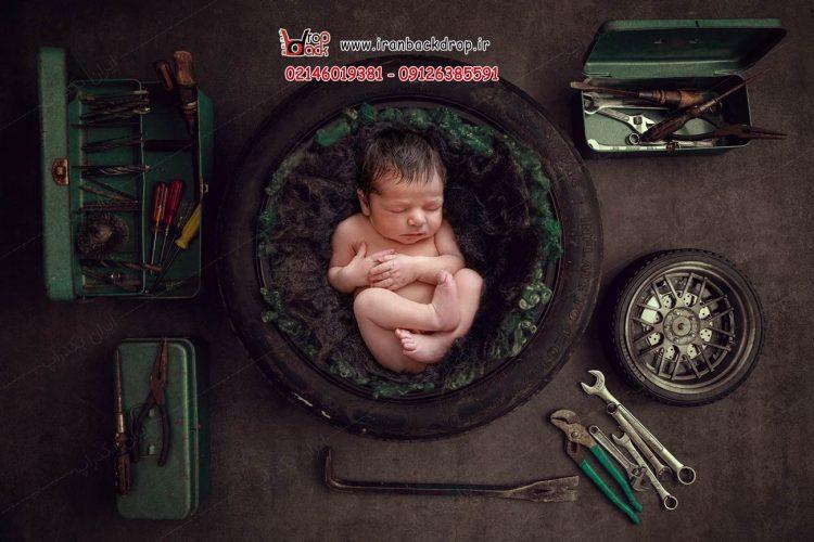 بک دراپ عکاسی نوزاد پسرانه